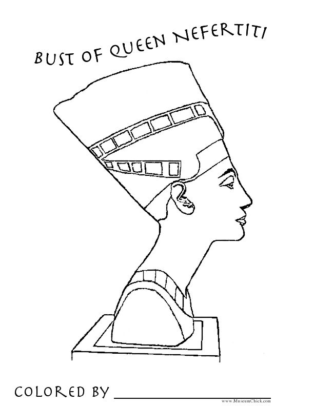 Bust Of Queen Nefertiti Coloring Page