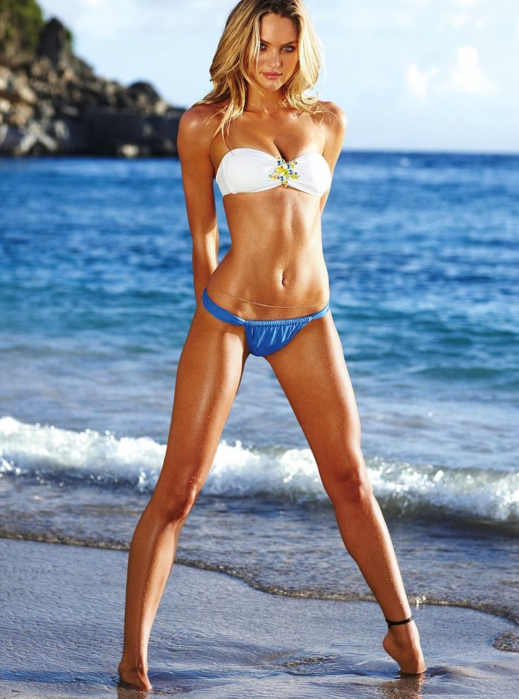 plus 0/1 Candice Swanpoel #VS swimwear Victoria's Secret blue bikini bottom white top beach http://www.gq.com/images/women/2010/03/candice/candice01.jpg