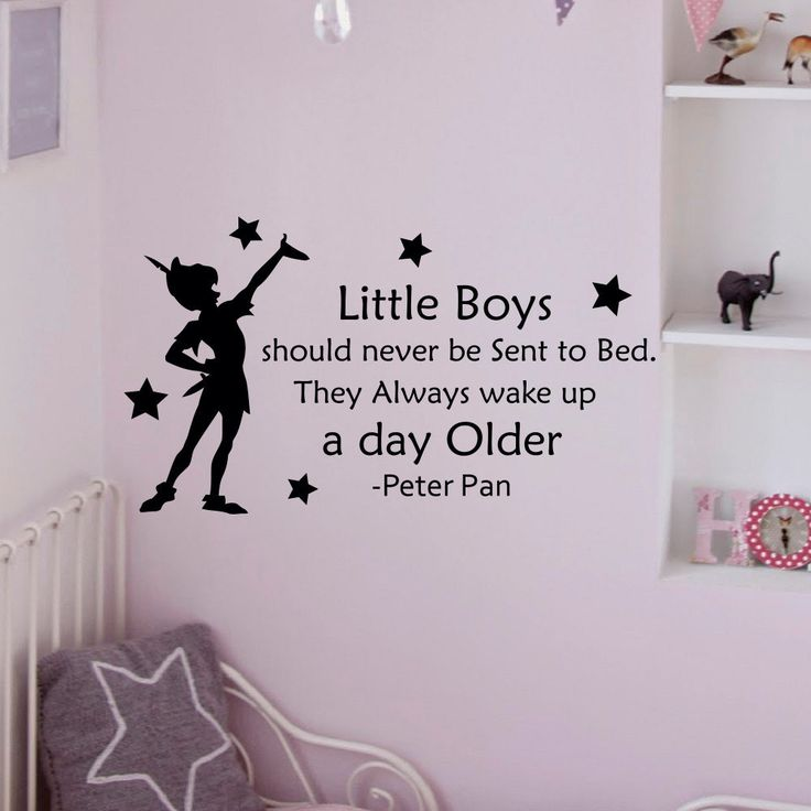Peter Pan Wall Decal Quote Little Boys Should Never Be Sent To Bed Wall  Decals Vinyl Stickers Kids Playroom Bedroom Nursery Home Decor Approximate Part 50