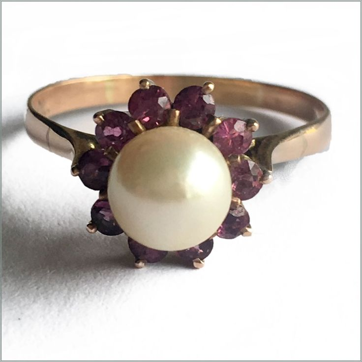 Pearl, Garnet And 14ct Rose Gold Ring