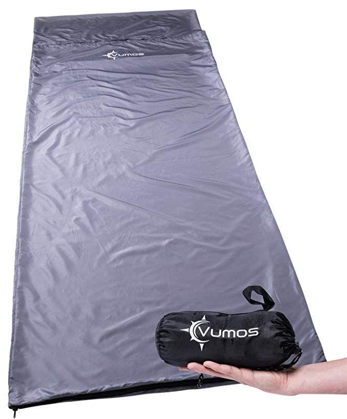 Vumos Sleeping Bag Liner And Camping Sheet Use As A Lightweight Sleep Sack When You Travel Has Full Length Zipper Review Sleeping Bag Liner Best Sleeping Bag Traveling By Yourself