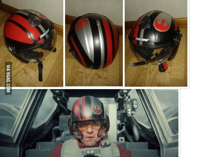 Boyfriend painted my moped helmet, based on the X-Wing rebel helmet from the trailer of Star Wars The Force Awakens