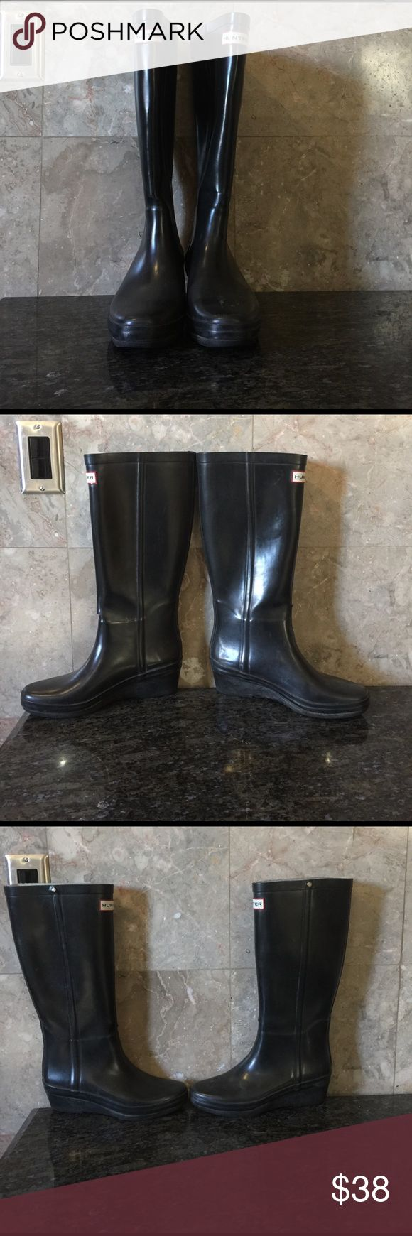 Tall shine flat Hunter boots Preloved with visual signs of wear. Their is also a tear on each boot as shown in pics. Can be repaired but I will leave that up to you as well as the cleaning, price discounted fir that. The boots are fully lined with a cloth material from the inside. I habrdly ever get this style. Don't miss out Hunter Boots Shoes Winter & Rain Boots