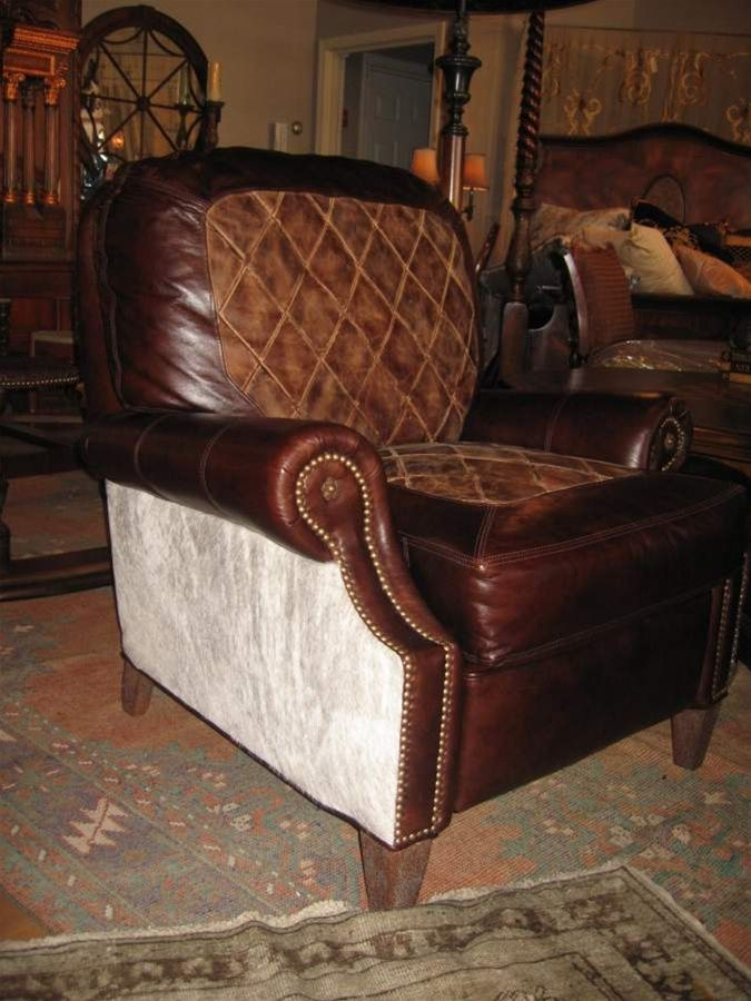 3 Way High Leg Recliner Diamond Ranch Saddle Leather In Center Of Seat And  In Back, Silver Gray Hair Hide On Outside