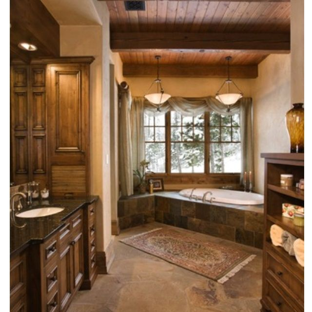 log home bathrooms | Ooh, nice bathroom! | Log Home Ideas
