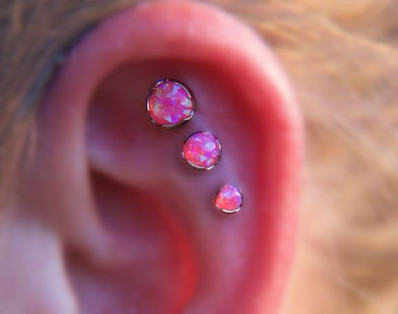 Exclusively at MyBodiArt - Red Fire Opal Triple Helix Ear Piercing Jewelry Studs at MyBodiArt