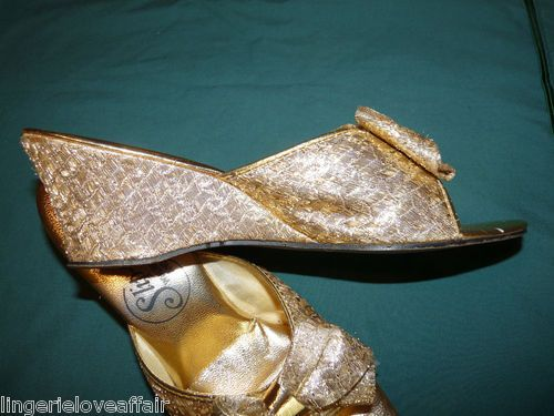 Vtg Women's Gold Slipper Sandals Slip Purrs Bedroom Boudoir Fashion Retro Bows | eBay