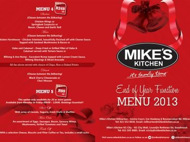 Mike's Kitchen Milnerton & N1 City - End of Year Function Menu