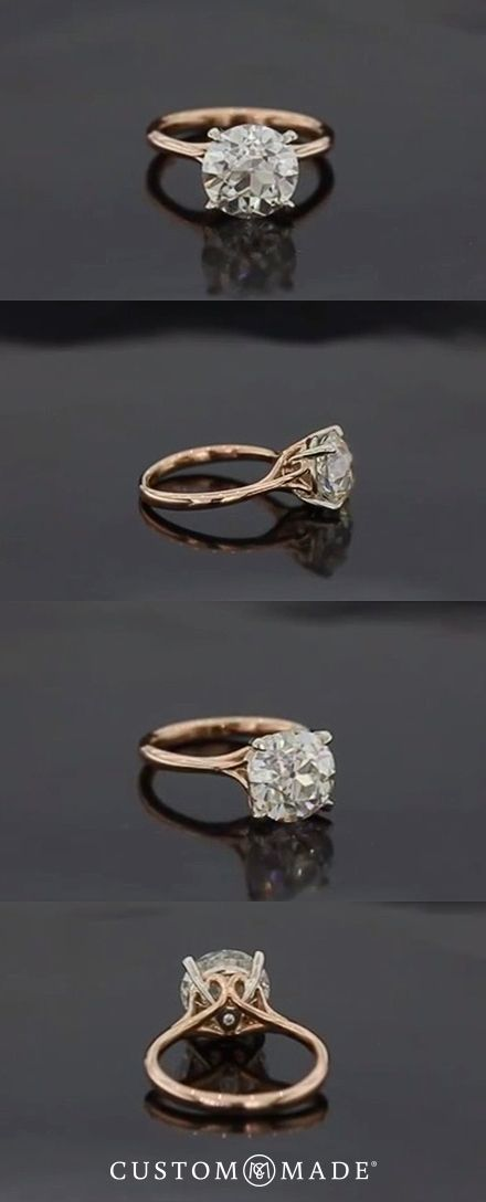 Simple elegance with this classic engagement ring with a brilliant center stone set in gold.