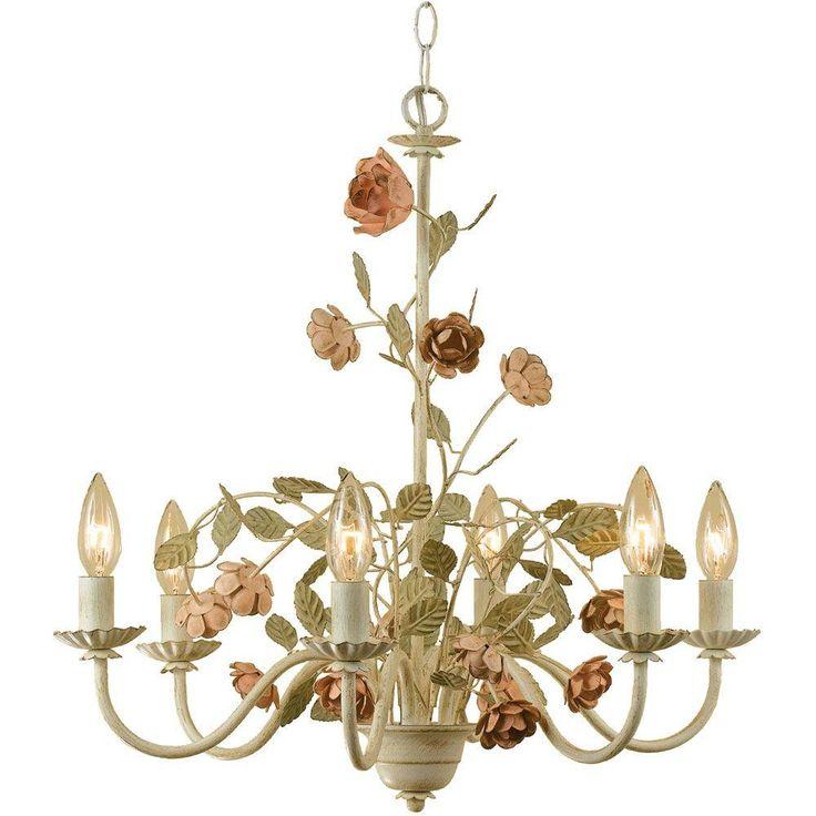 Af Lighting Ramblin Rose 6 Light Antique Cream Chandelier With Fl Accents