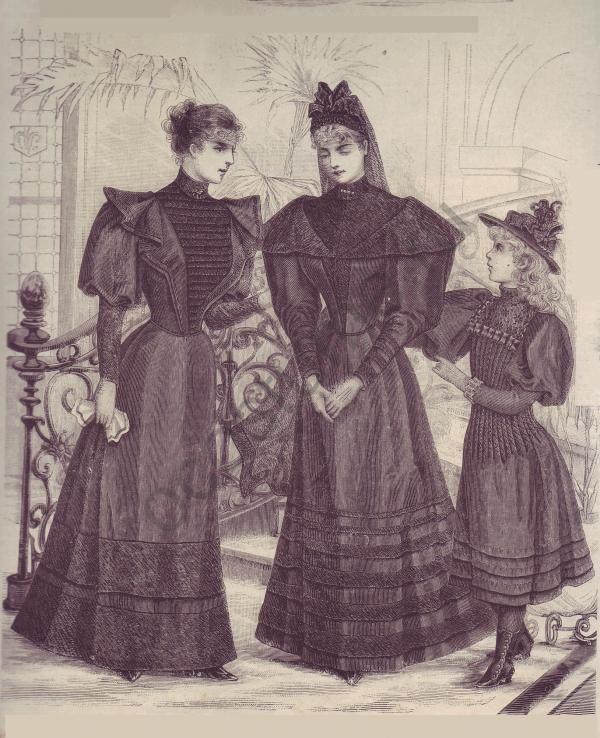 1893. Испания. Траурное женское и детское платье