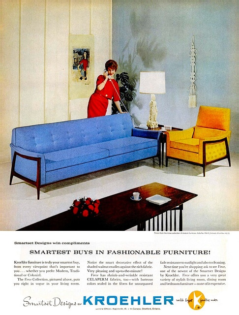 Mad Men Decor - We grew up in a house full of Kroehler furniture.