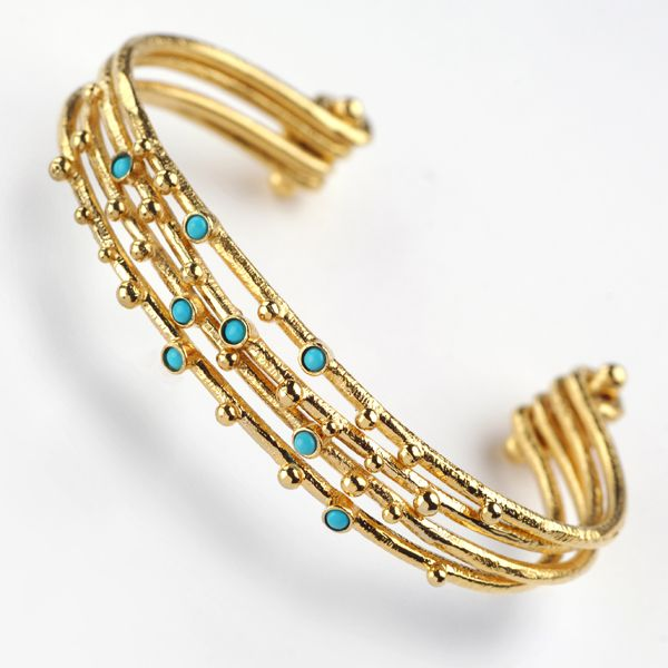 Trendy and stunning gold plated silver bangle bracelet set with turquoise stones.  Check it out at:  http://grasjewellery.com/index.php/component/virtuemart/bracelets/silver-24k-gold-plated2013-05-23-18-38-23/34592-detail?Itemid=0