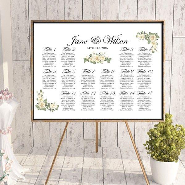 Elegant Ivory Wedding Seating Chart