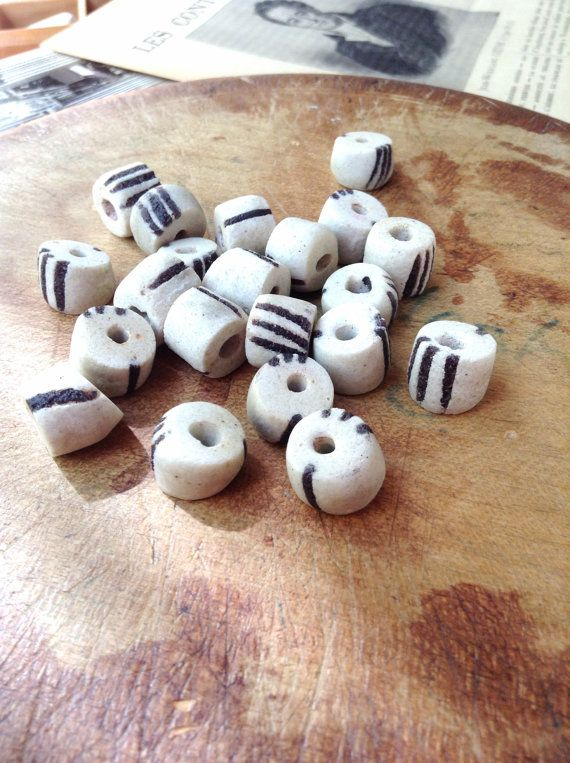 Four 4 Vintage Black and White Trade Beads  by MyVintageSupplies