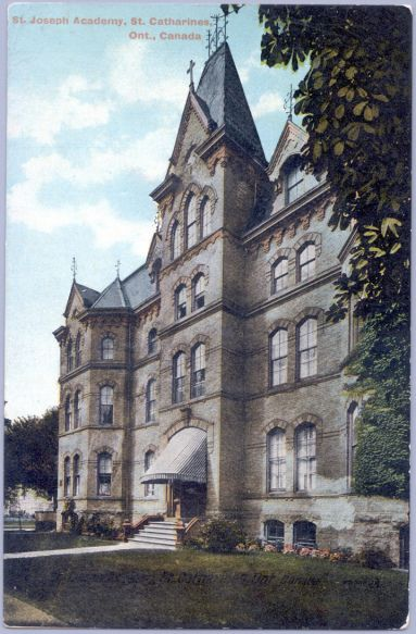 Convent-corner Church and James-DG postcard (from stcatharinesheritage.com) St. Joseph's Convent 63 Church St. Built: 1874 Destroyed by fire in 1972, demolished 1973.