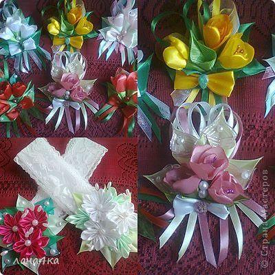 Украшение 8 марта Цумами Канзаши цветы из лент Ленты фото 2