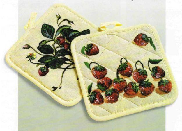 Decoupage su stoffa per decorare le presine da forno