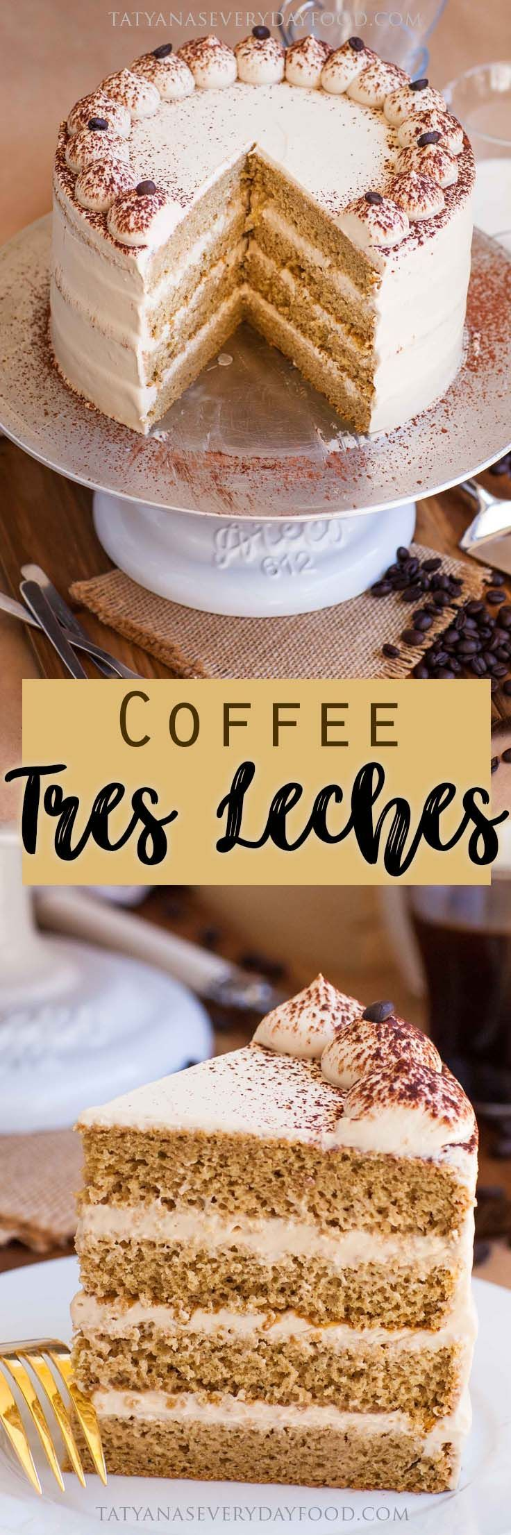 A coffee-flavored take on the famous Tres Leches Cake! This incredibly delicious coffee cake creation will steal your heart (and taste buds)! For this coffee tres leches cake, I start out with an airy and fluffy coffee sponge cake, soak the layers with a coffee flavored milk syrup and frost with a coffee whipped cream. […]