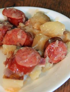 Crockpot Potatoes and Ukrainian Sausages. No oven - perfect for summer :)