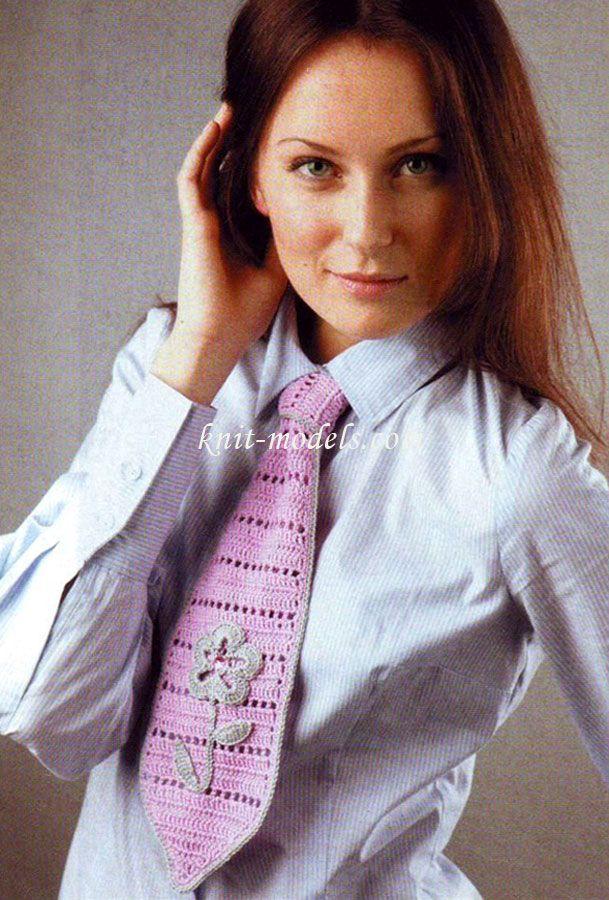 Женский вязаный галстук
