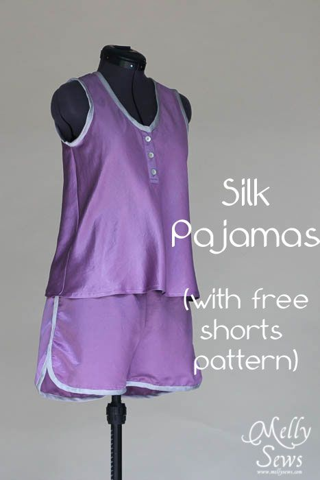 Sew Pajamas with this easy care silk cotton fabric and free pattern for the bottoms by Melly Sews