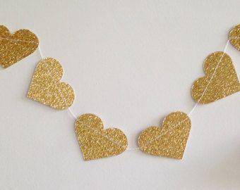 Corazón oro Garland decoración de la boda de oro por LucyBirdy