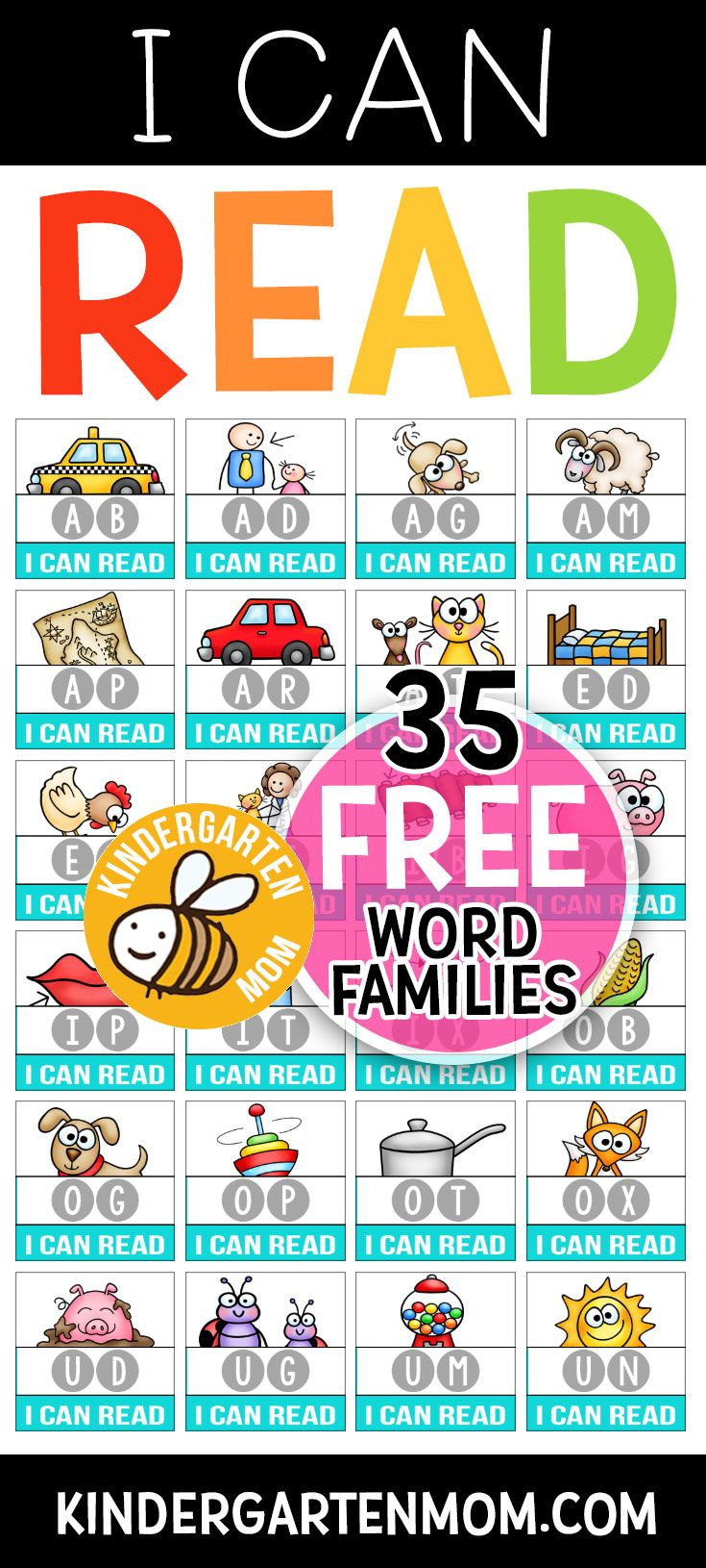 Learn To Read For Free With Kindergarten Mom Free Printables To Teach Your Child To Read Includes Charts Word Families Kindergarten Reading Phonics Reading [ 1630 x 735 Pixel ]