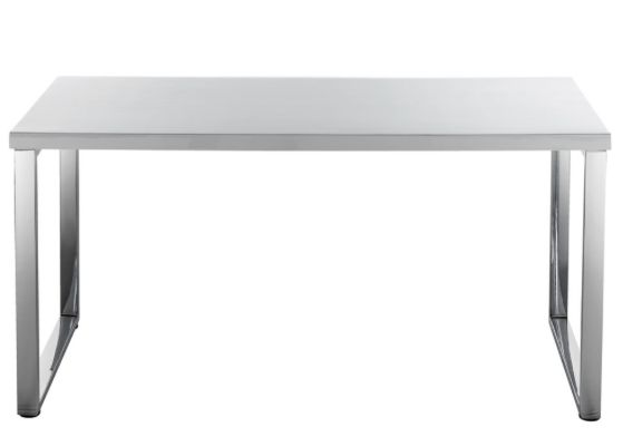 Hummingbird Contour Loop Leg Desk White and Chrome