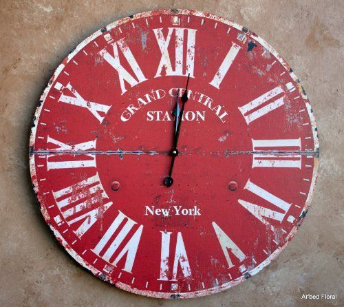 23 large grand central station new york wall clock burnt red beige finish http