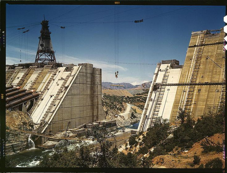 Shasta dam under construction. California, June 1942. Reproduction from color slide. Photo by Russell Lee. Prints and Photographs Division, Library of Congress