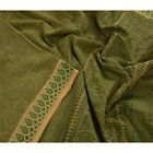Sanskriti Vintage 100% Pure Cotton Saree Green Floral Printed Sari Craft Fabric