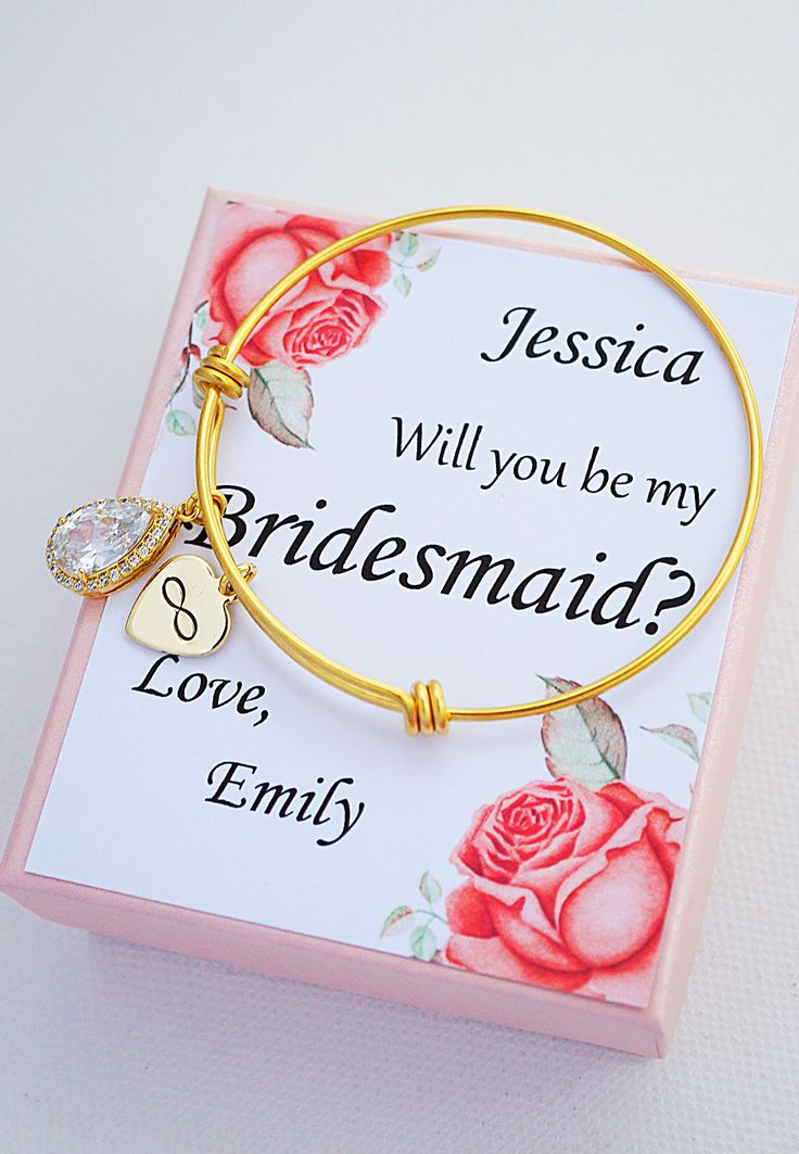 Personalized bridesmaid card  with stainless steel bangle from Earringsnation rose gold wedding bridesmaid gifts layered bangle winter wedding