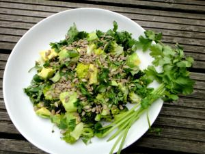 Day 4 #greenvegchallenge This nourishing green salad is full of zesty cilantro, cancer-fighting broccoli, creamy avocado and anti-inflammatory sunflower seeds (high in vitamin E).