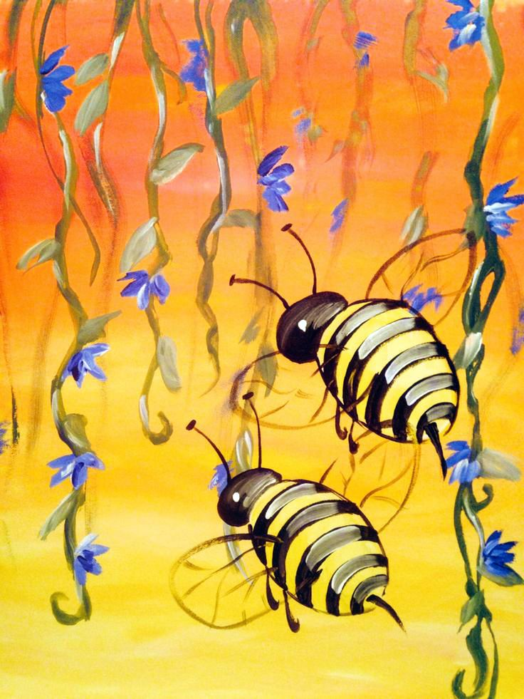 Learn to Paint Buzzing Bees tonight at