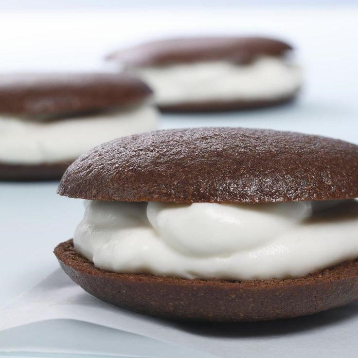 Classic whoopie pies combine a creamy filling sandwiched between cakey chocolate cookies. Some are filled with a marshmallow cream frosting while others are filled with whipped cream. Even those of us who grew up with the former fell in love with our lighter version of the whipped cream-filled treats.