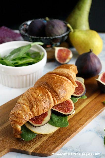 My space, my world. Ana Mari's world.: Croissant z cheddarem, szpinakiem, figą i gruszką