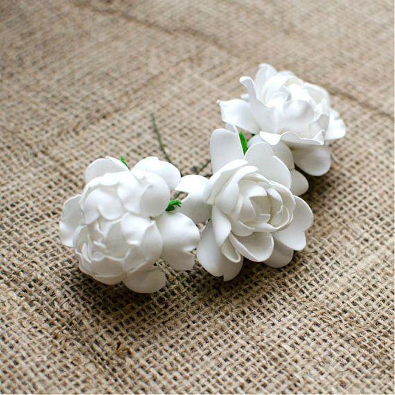 White Roses Foam Flowers 6 pcs Wedding Flower Jewelery making
