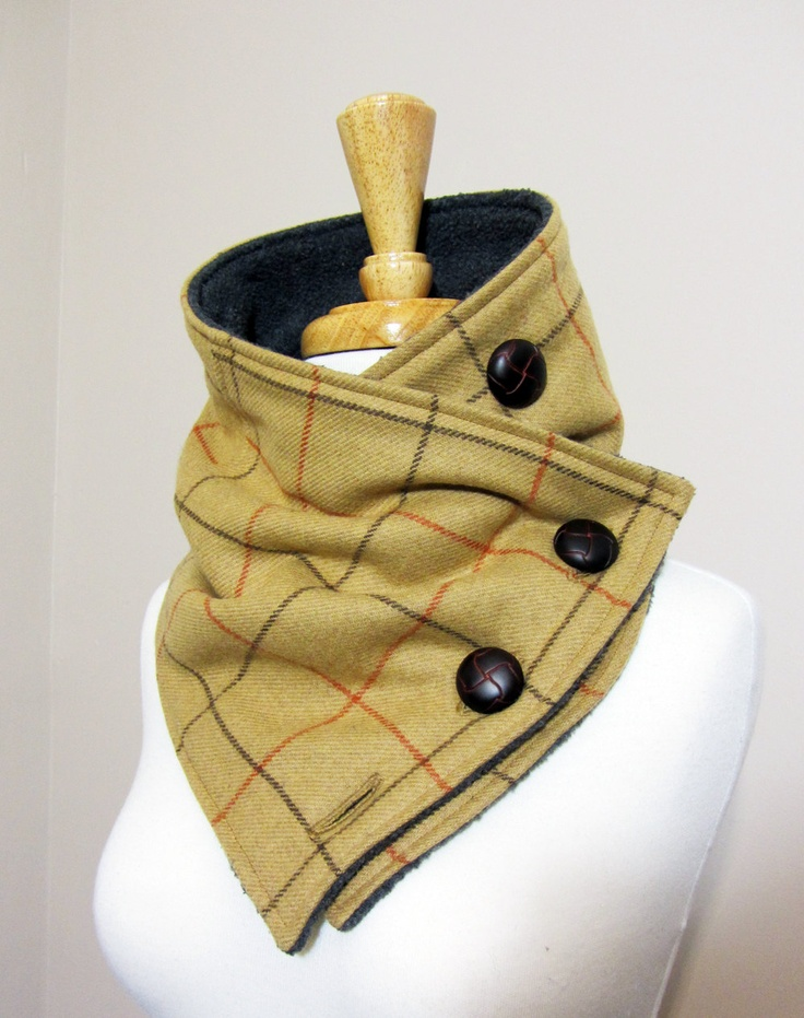 Unisex Upcycled Brown Plaid Neck Warmer Scarf. $53.00, via Etsy.