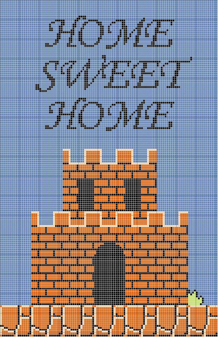 mario home sweet home cross stitch free pattern!! Grid Size: 111 W x 172 H Legend: DMC Stranded Cotton (strands) 310 black 739 tan - ul vy lt 799 delft blue - md 907 parrot green - lt 947 burnt orange