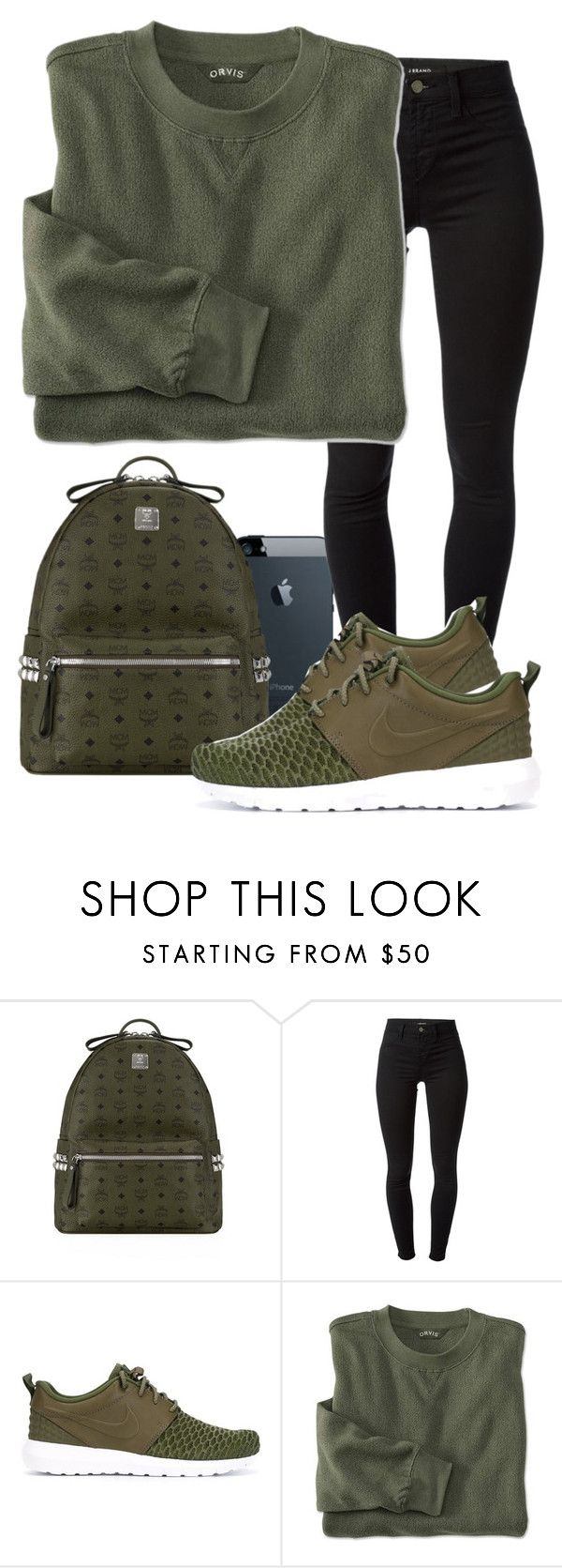 """Army Green"" by madifly ❤ liked on Polyvore featuring MCM, J Brand and NIKE"