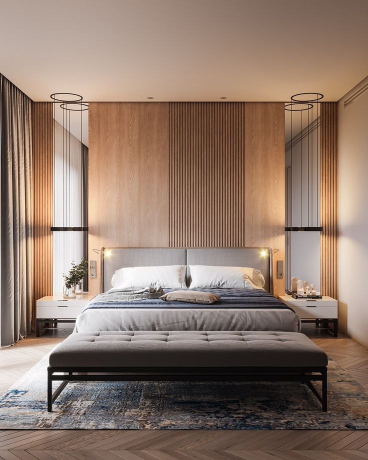 51 Modern Bedrooms With Tips To Help You Design: Restful Interior With Blue & Brass Accents Running Through