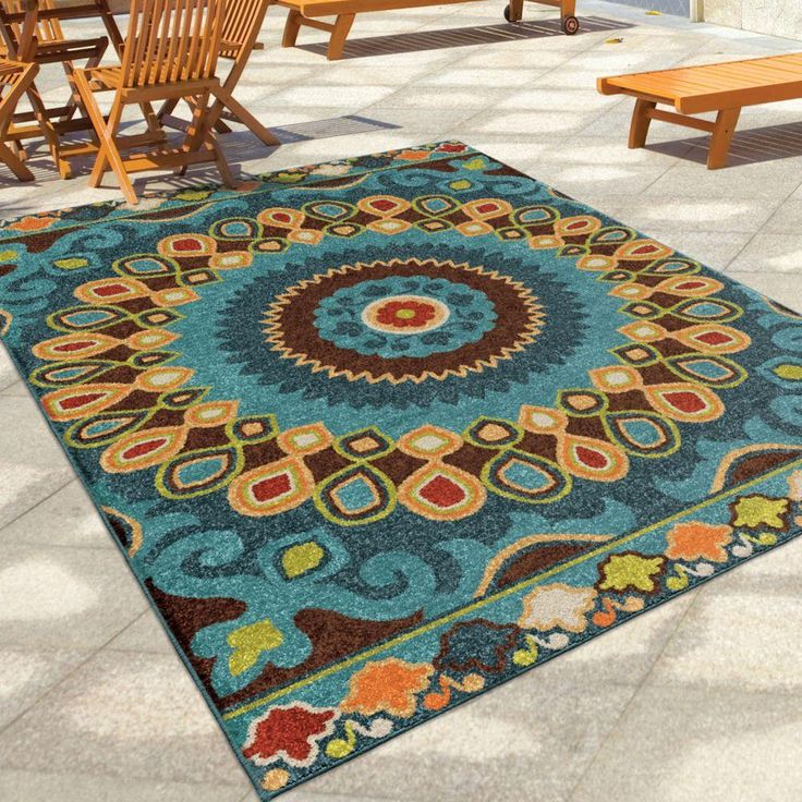 Large Indoor Outdoor Rug In Beautiful Colors