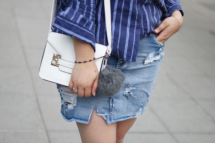 Denim skirt - grey pompon - blue shirt - white prune purse | GOLDEN STROKES