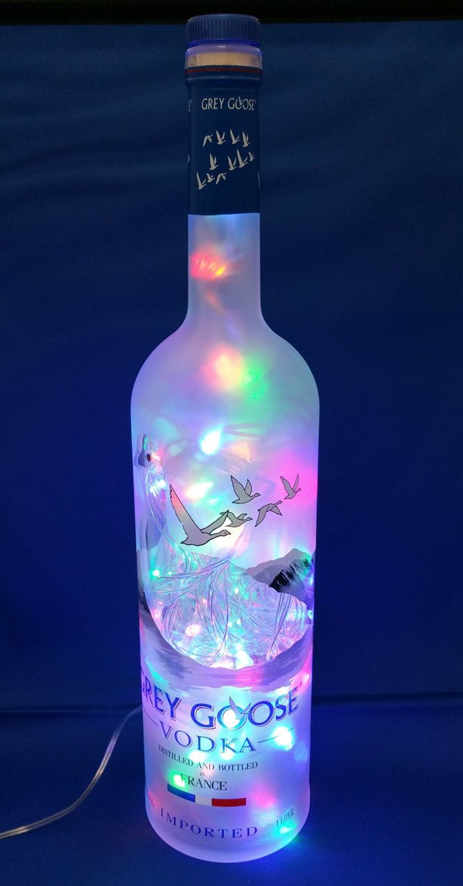 GREY GOOSE Liquor bottle lamp with multicolor LED by CachyCreation on Etsy