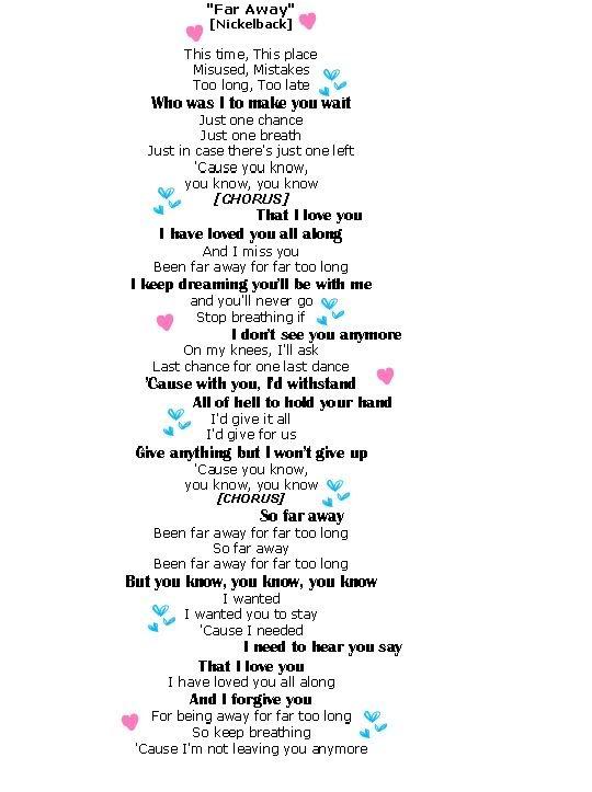 Far Away Nickelback Song Lyrics