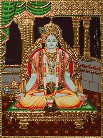 #Tanjore : Unique Tanjore painting of Lord #Krishna in #meditation in his palatial abode.  The features of the painting are exquisite with the most congenial hues, the serene expression, the perfect backdrop, the gold-foiling...  Go for it now!  www.madhurya.com