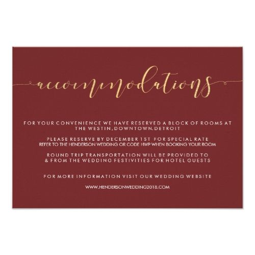 The  Best Accommodations Card Ideas On   Wedding