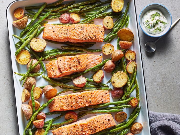 """<a href=""""/recipe/sheet-pan-salmon-potatoes-green-beans"""">Sheet Pan Salmon, Green Beans, andPotatoes</a> 