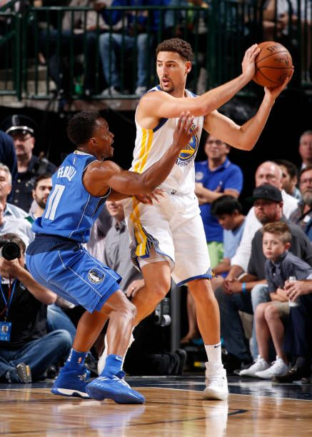 Klay Thompson of the Golden State Warriors handles the ball against the Dallas Mavericks on October 23 2017 at the American Airlines Center in Dallas...